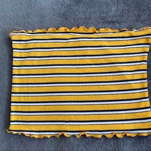 Yellow mustard and black stripped tube crop top